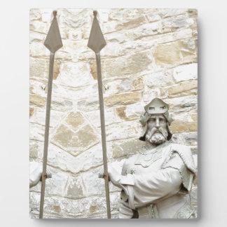 装甲の騎士が付いている中世背景 フォトプラーク