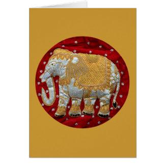 装飾されたインドゾウの赤および金ゴールド カード