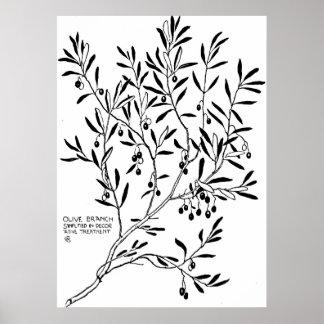 装飾で簡単にされているオリーブの枝 ポスター