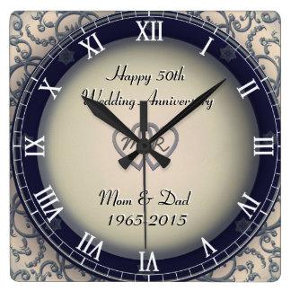 装飾用の結婚記念日 スクエア壁時計