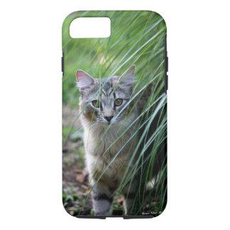 装飾用の草のiPhoneの場合の猫 iPhone 8/7ケース
