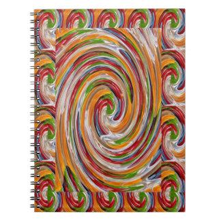 装飾的でフルーツのような回転の波パターン ノートブック