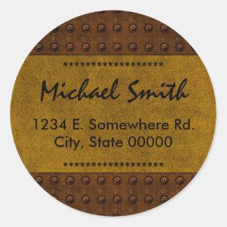 装飾的で男らしいブラウンの名前の住所蔵書票 ラウンドシール