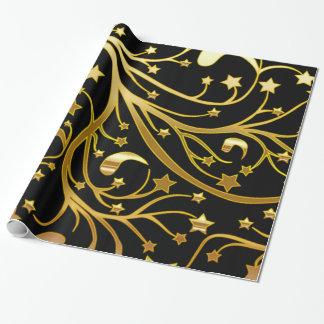 装飾的で黒い金ゴールドの一見のシックなクリスマスの星 ラッピングペーパー