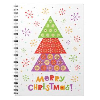 装飾的なクリスマスのモミの木 ノートブック