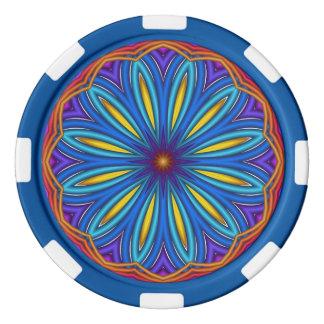 装飾的なスターバストの円形浮彫りのポーカー用のチップ ポーカーチップ