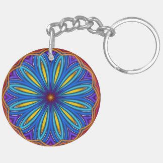 装飾的なスターバストの円形浮彫りKeychain キーホルダー
