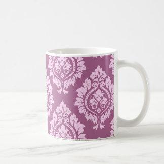 装飾的なダマスク織パターン-プラムのピンク コーヒーマグカップ