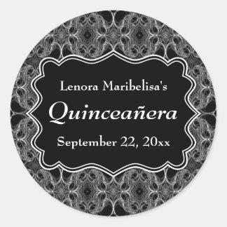 装飾的なパターン白黒キンセアニェラ ラウンドシール