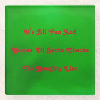 装飾的なユーモアのあるなクリスマスのいけないリスト ガラスコースター