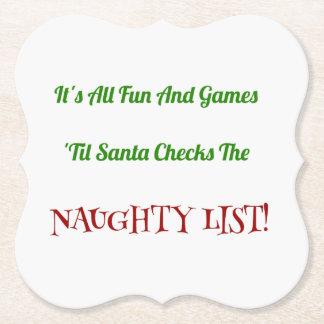 装飾的なユーモアのあるなクリスマスのいけないリスト ペーパーコースター