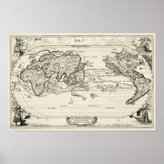 装飾的なレプリカの16世紀で旧式な世界地図 ポスター