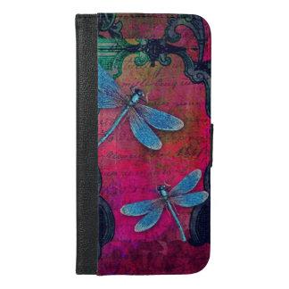 装飾的なヴィンテージのトンボのコラージュのフランスのな原稿 iPhone 6/6S PLUS ウォレットケース