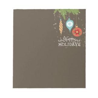 装飾的な幸せな休日のクリスマスオーナメント ノートパッド