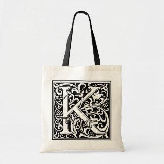 """装飾的な手紙のイニシャル""""K"""" トートバッグ"""