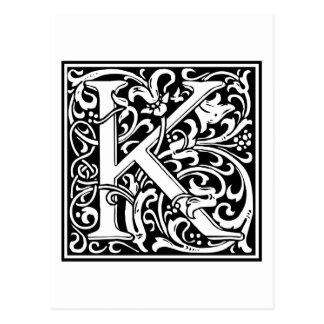 """装飾的な手紙のイニシャル""""K"""" ポストカード"""