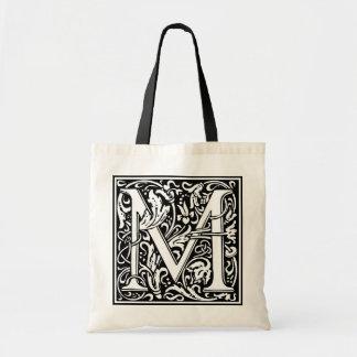 """装飾的な手紙のイニシャル""""M"""" トートバッグ"""