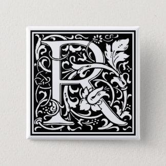 """装飾的な手紙のイニシャル""""R"""" 5.1CM 正方形バッジ"""