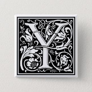 """装飾的な手紙のイニシャル""""Y"""" 5.1CM 正方形バッジ"""
