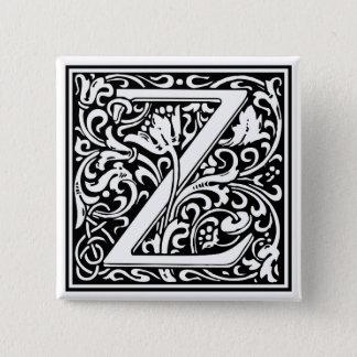 """装飾的な手紙のイニシャル""""Z"""" 5.1CM 正方形バッジ"""