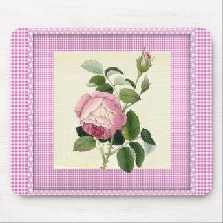 装飾的な旧式のピンクのバラのリネンギンガム マウスパッド