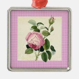 装飾的な旧式のピンクのバラのリネンギンガム メタルオーナメント