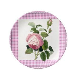 装飾的な旧式のピンクのバラのリネンギンガム 磁器プレート