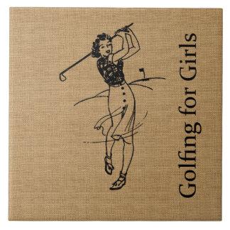 装飾的な模造のなバーラップのヴィンテージの女の子のゴルファー タイル