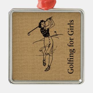 装飾的な模造のなバーラップのヴィンテージの女の子のゴルファー メタルオーナメント