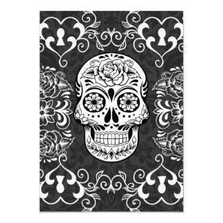 装飾的な砂糖のスカルの白黒のゴシック様式グランジ カード