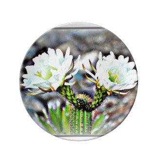 装飾的な磁器皿- 2つのサボテンの花 磁器プレート