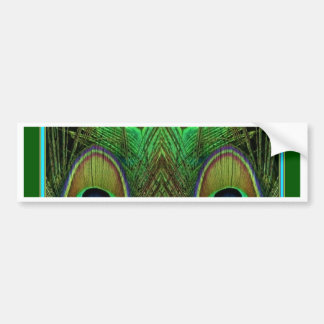装飾的な緑の孔雀の羽の目 バンパーステッカー