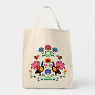 装飾的な花柄及びCockerelsを持つポーランドのフォーク トートバッグ