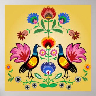 装飾的な花柄及びCockerelsを持つポーランドのフォーク ポスター