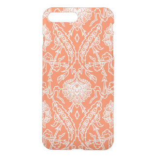 装飾的な贅沢な珊瑚および白いダマスク織パターン iPhone 8 PLUS/7 PLUS ケース