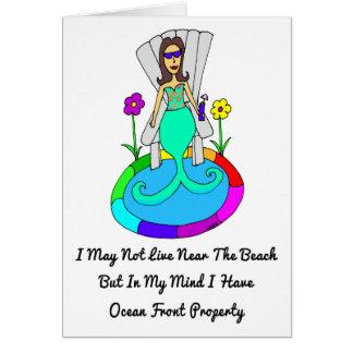 """裏庭の人魚""""私はビーチに住まないかもしれません… """" カード"""