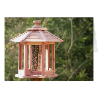 裏庭の鳥の送り装置のメッセージカード カード