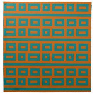 補足色のティール(緑がかった色)のオレンジ ナプキンクロス