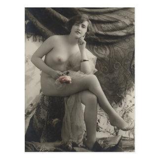 裸の女性のフランス人の郵便はがき ポストカード