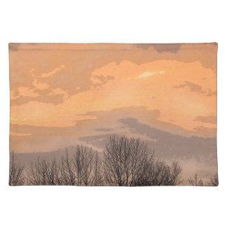 裸の木との日没 ランチョンマット
