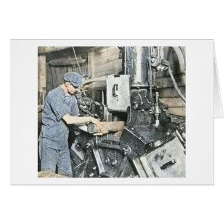製材所の労働者の幻灯のスライド3 カード