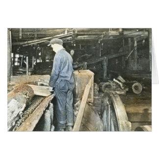 製材所の労働者の幻灯のスライド5 カード
