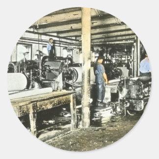製材所の労働者の幻灯のスライド6 ラウンドシール