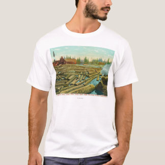 製材製造所およびダムの川はで満ちました Tシャツ
