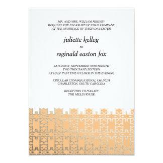 製造所の家のチャールストンのオレンジおよび金ゴールドの招待状 カード