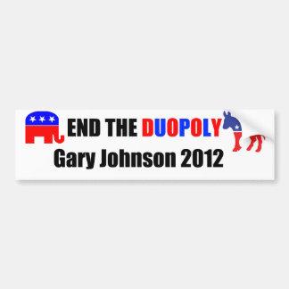 複占-ギャリージョンソン2012年--を終えて下さい バンパーステッカー