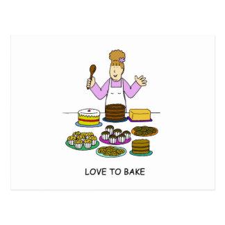 複数のケーキを持つ女性焼けることを愛して下さい ポストカード