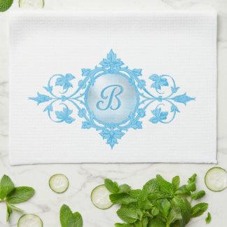 """複雑でフランスのなスクロール青いモノグラム""""B """" キッチンタオル"""