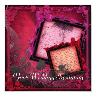 複雑でロマンチックで赤い結婚式招待状 カード