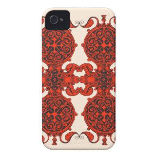 複雑なアールヌーボーの赤くおよび黒くユニセックスなデザイン Case-Mate iPhone 4 ケース